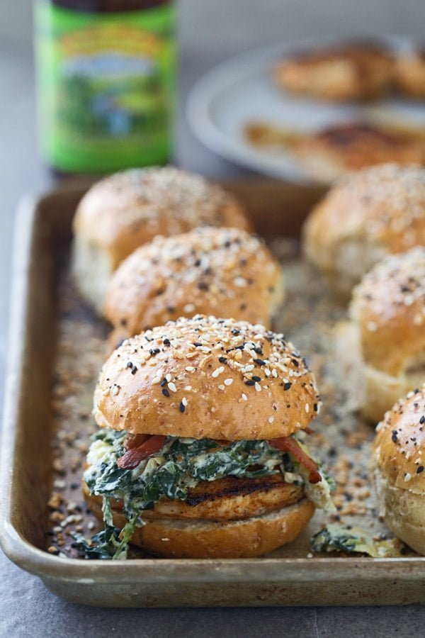 Blackened Spinach Artichoke Chicken Sliders with bacon