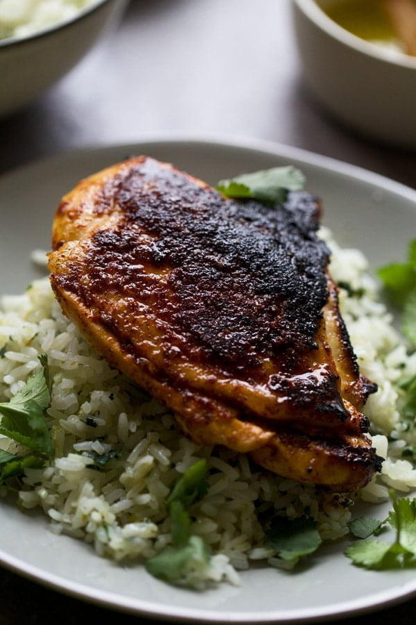 Chile and Lime Crusted Chicken with Garlicky Cilantro Rice