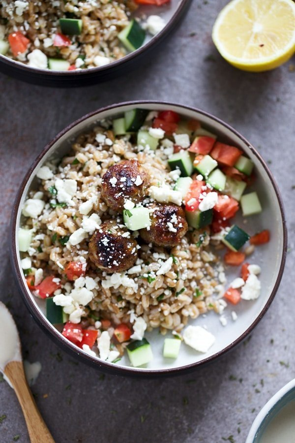Greek Meatball Farro Bowls with Easy Tahini Sauce