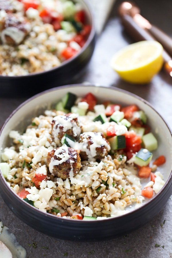 Greek Meatball Farro Bowls with Easy Tahini Sauce