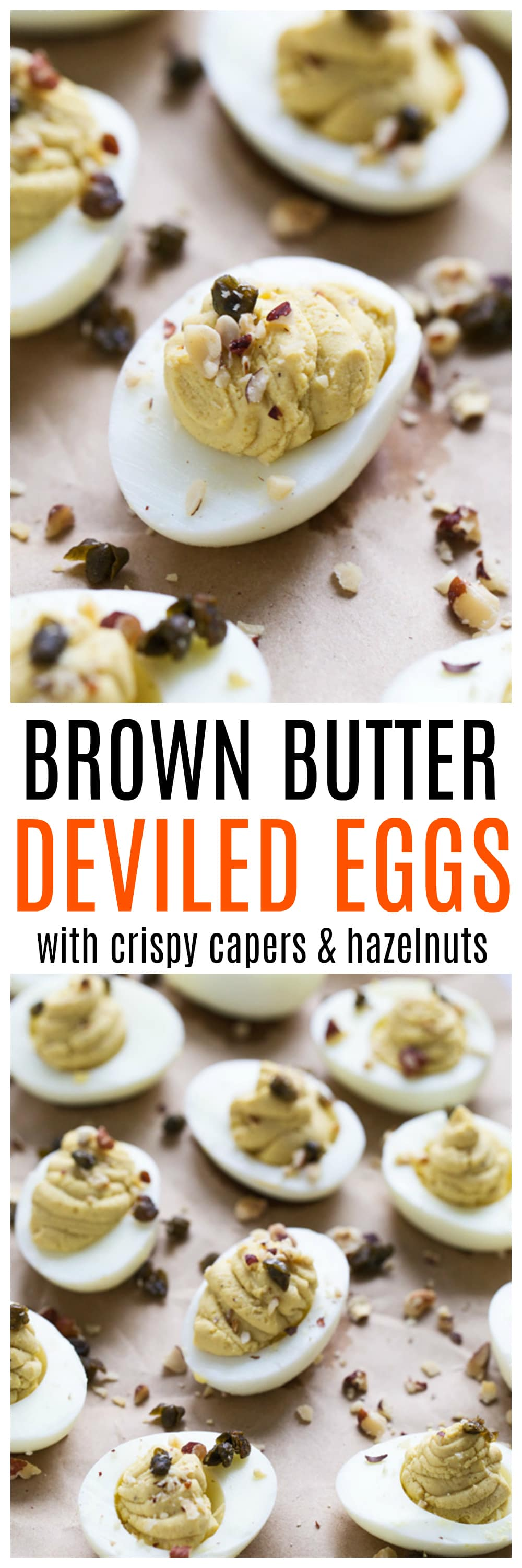 Brown Butter Deviled Eggs with Crispy Capers and Hazelnuts