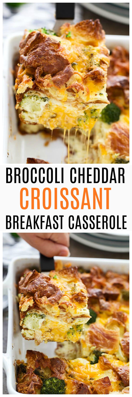 Broccoli Cheddar Croissant Breakfast Casserole