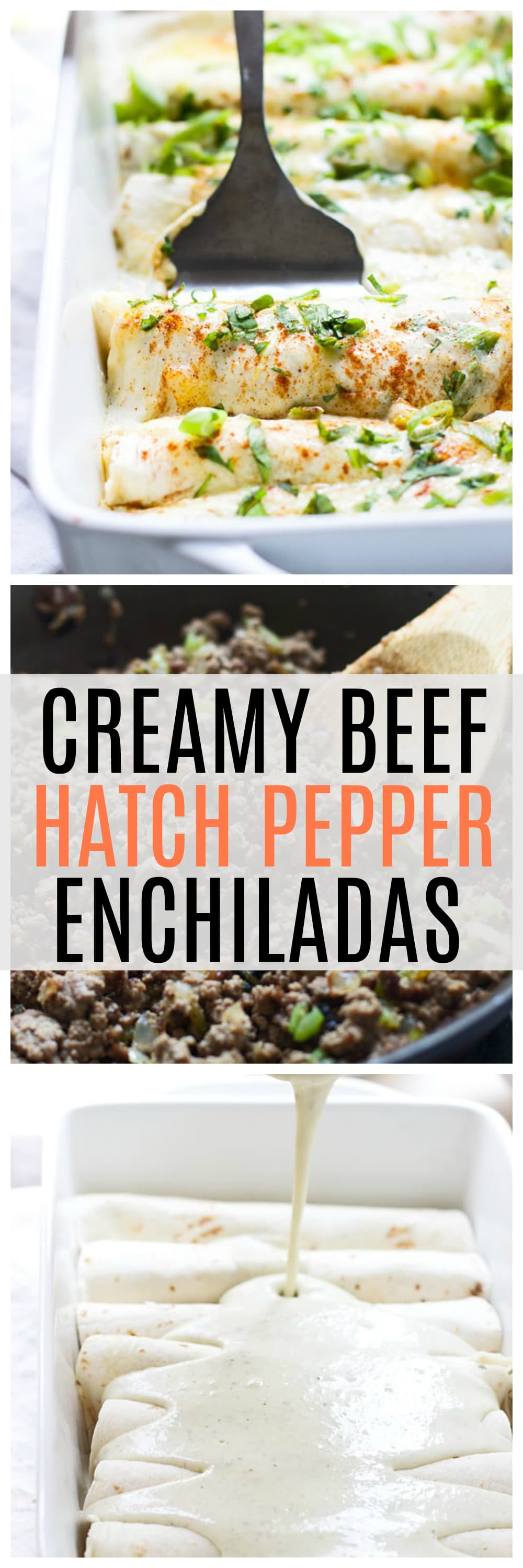 Creamy Beef and Hatch Pepper Enchiladas