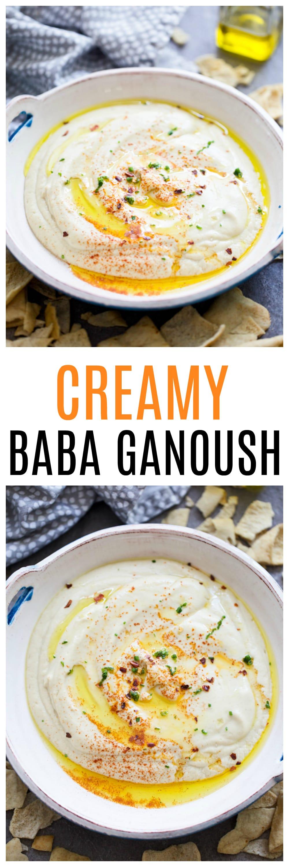 Creamy Baba Ganoush: Pureed eggplant, a hint of honey, lemon juice, salt, plain Greek yogurt and tahini make up this luscious dip!