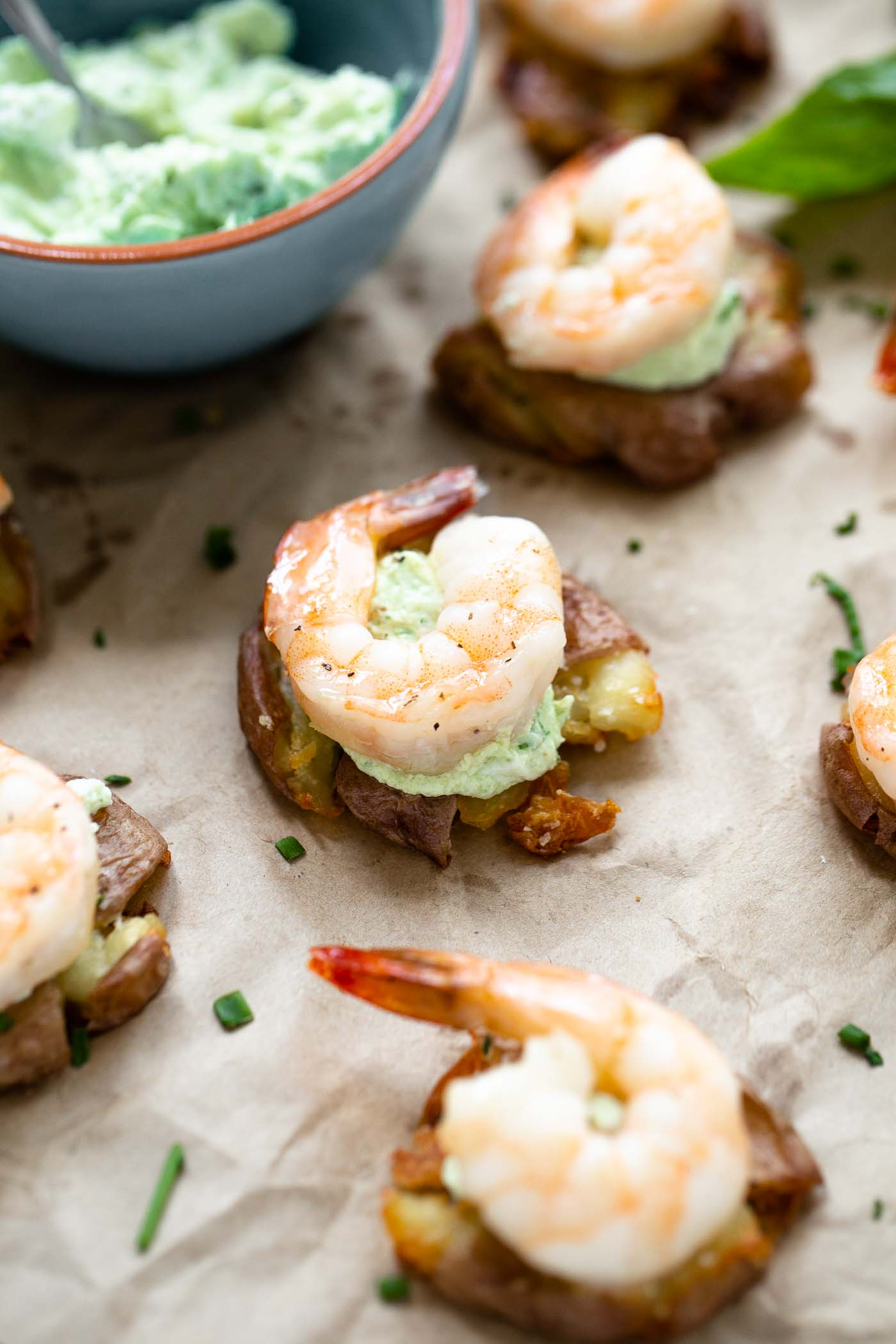 Crispy Smashed Potatoes with Green Goddess Goat Cheese