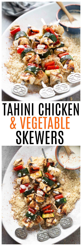 Tahini Chicken & Veggie Skewers