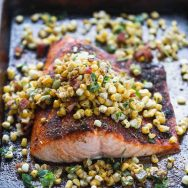 Baked Cajun Salmon with Spicy Corn