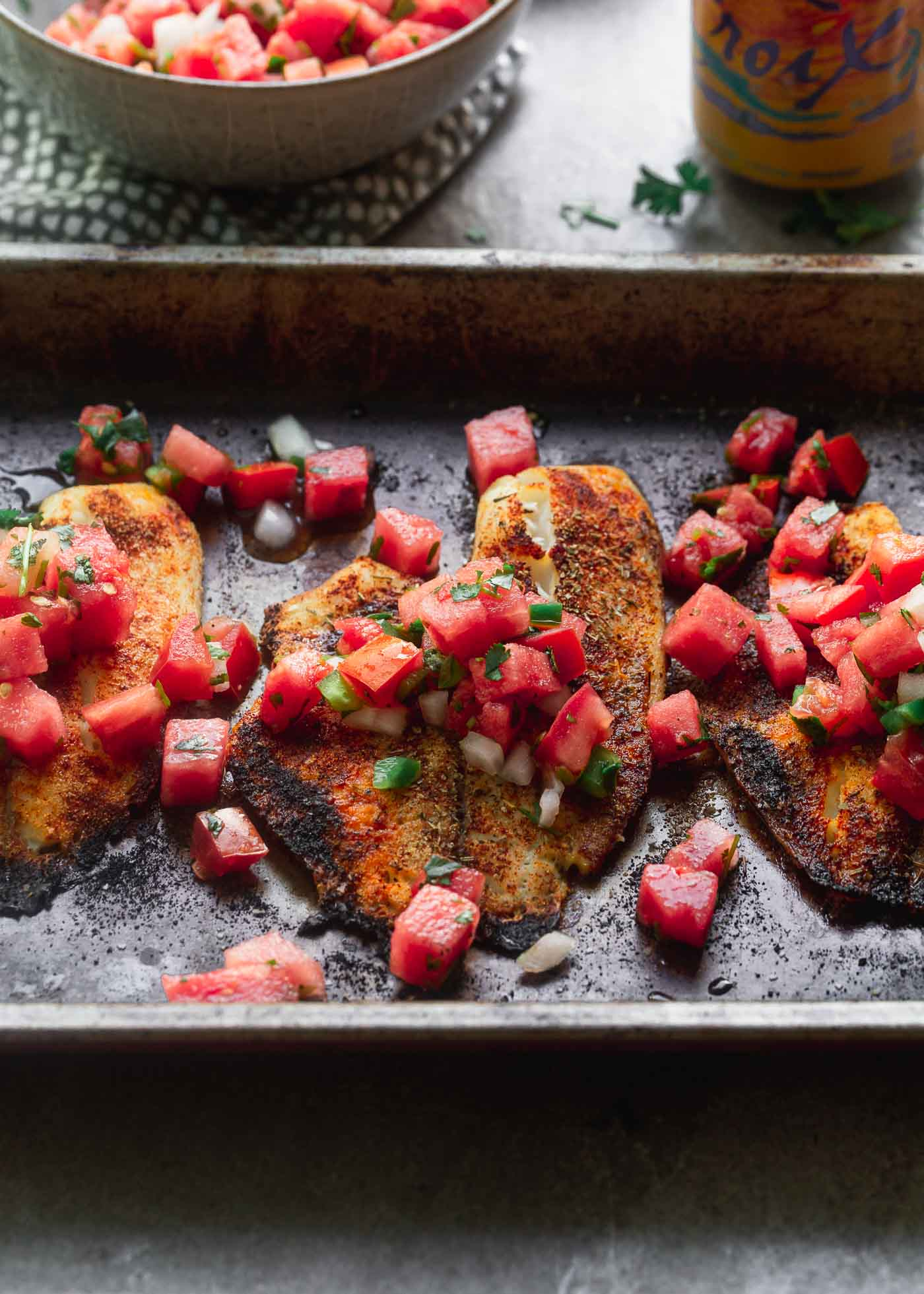 Spicy Tilapia with Watermelon Pico