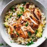 Chipotle Chicken and Pineapple Barley Bowls