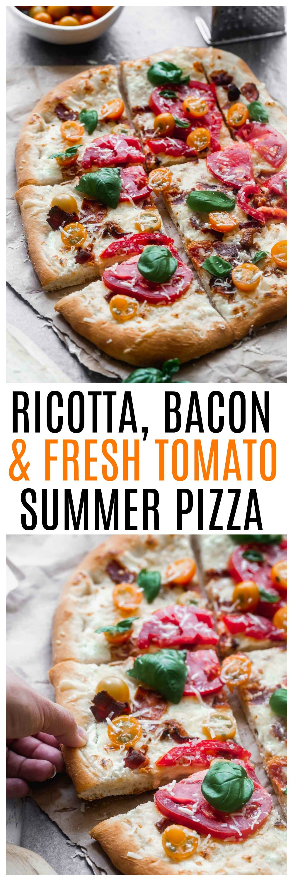 Ricotta, Bacon and Tomato Pizza