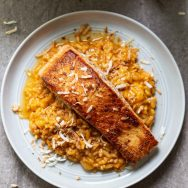 Coconut Curry Risotto with Crispy Salmon