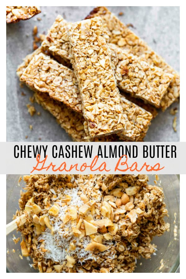 Chewy Cashew Almond Butter Granola Bars