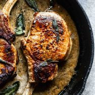 Pan-Seared Pork Chops with Sage and Apple Cider Cream Sauce