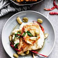 Chicken with Roasted Garlic, Chiles, and Olives