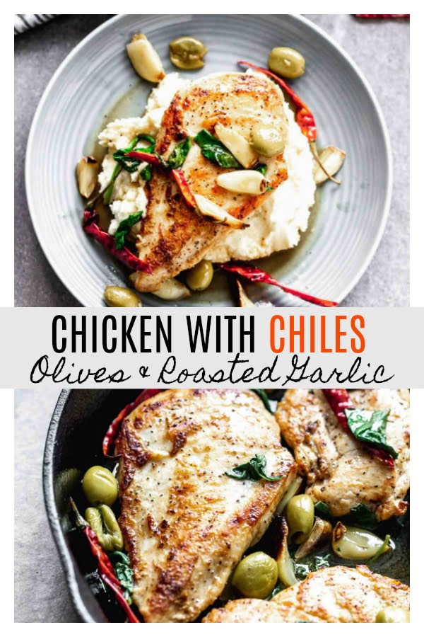Chicken with Chiles, Olives and Roasted Garlic