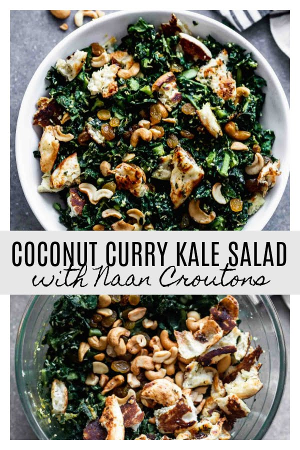 Coconut Curry Kale Salad with Naan Croutons