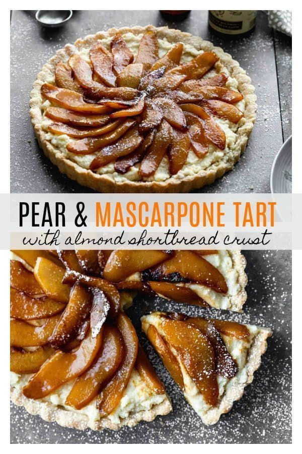 Pear and Mascarpone Tart with Almond Shortbread Crust #NielsenMasseyPartner