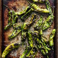 Roasted Shishito Peppers with Soy Glaze