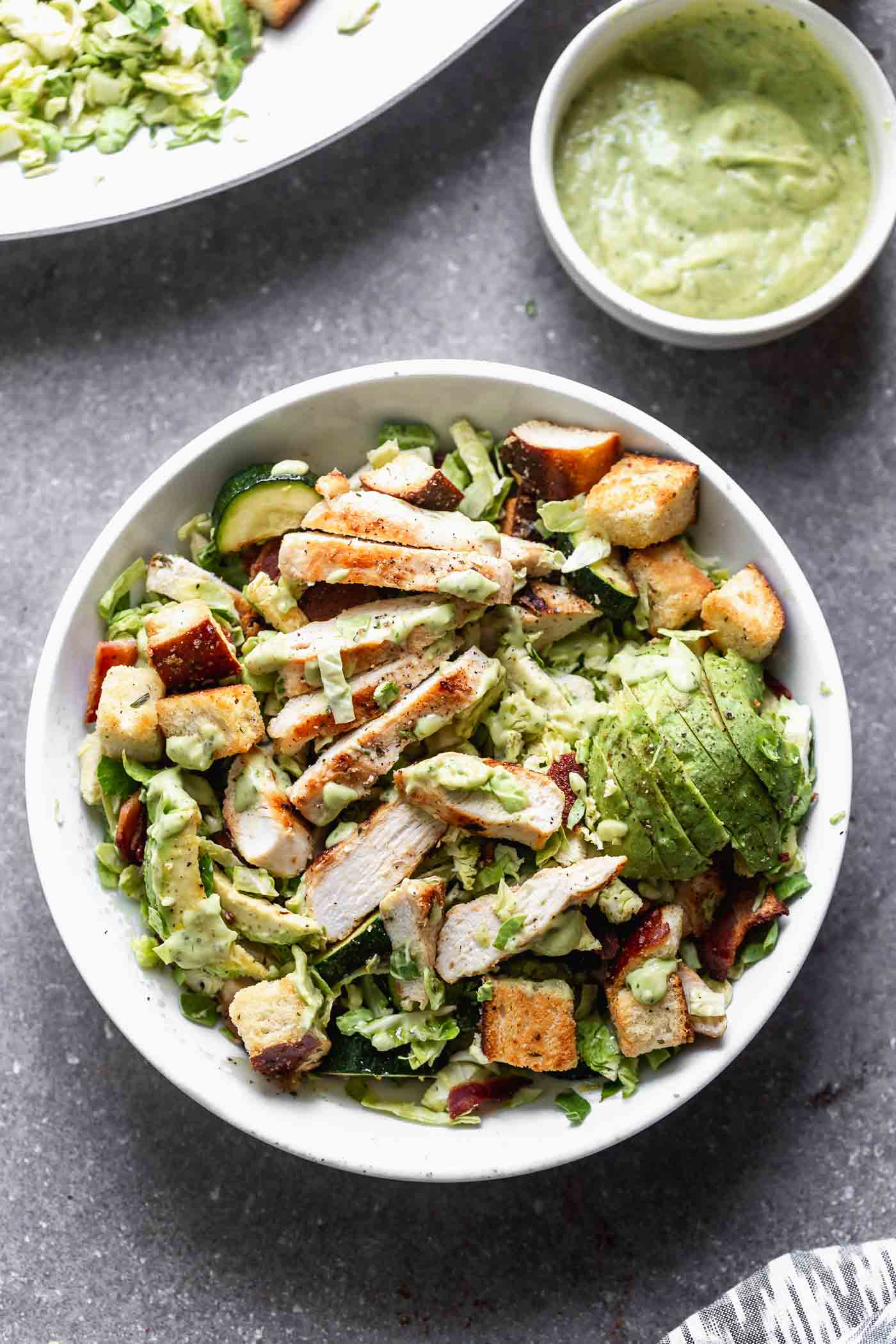 Green Goddess Brussels Sprout Salad with Bacon and Grilled Chicken