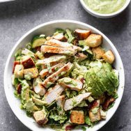 Brussels Sprout Green Goddess Salad with Bacon and Grilled Chicken