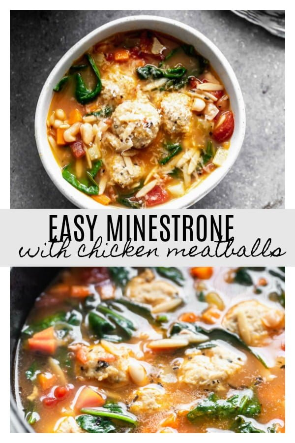 Minestrone with Chicken Meatballs is a hybrid of two comforting soups - minestrone and Italian wedding soup. With a rich, parmesan-infused broth, tons of veggies, whole-wheat orzo, and the most tender, flavorful chicken meatballs, this is a healthy winter soup worth making over and over again.