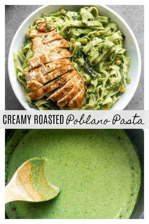Creamy Roasted Poblano Pasta: Silky strands of tagliatelle pasta twirled in a smoky, spicy, DELICIOUS Poblano Cream Sauce. There's also hints of cilantro and garlic - yum! Perfect for date night, Friday night, or really, any night.