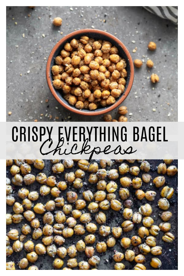 Crispy Crispy Everything Bagel Chickpeas: Covered in everything bagel seasoning, tossed with olive oil and baked until golden brown and crispy. Addictive!