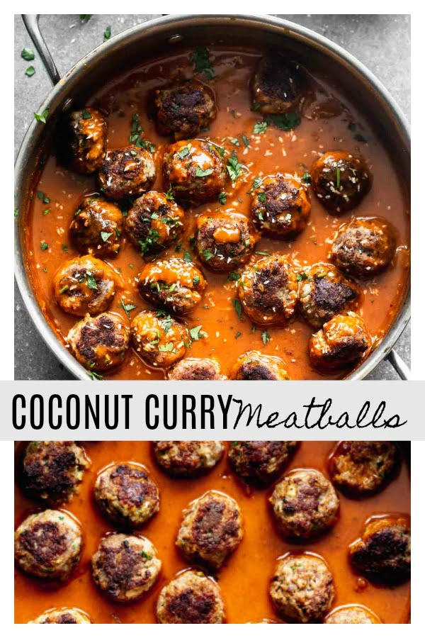 These Coconut Curry Meatballs require minimal ingredients, but have SO much flavor. They're packed with garlic, ginger, onion and cilantro, browned until crisp, and bathed in a luscious coconut curry sauce. Only 30 minutes from start to finish!
