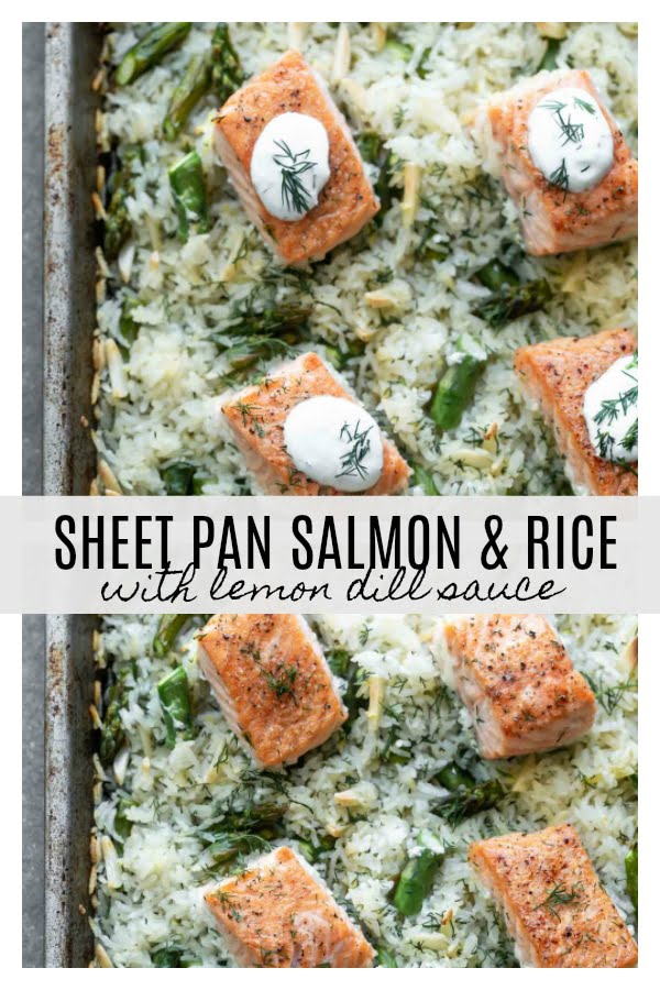 Sheet Pan Salmon and Rice with Lemon Dill Sauce is an easy way to get your protein, starch, and veggies in one swift cooking process. Simply seasoned salmon filets are nestled on an easy dill and lemon-infused jasmine rice studded with asparagus, and topped off with an easy lemon Greek yogurt sauce. The perfect healthy weeknight dinner!