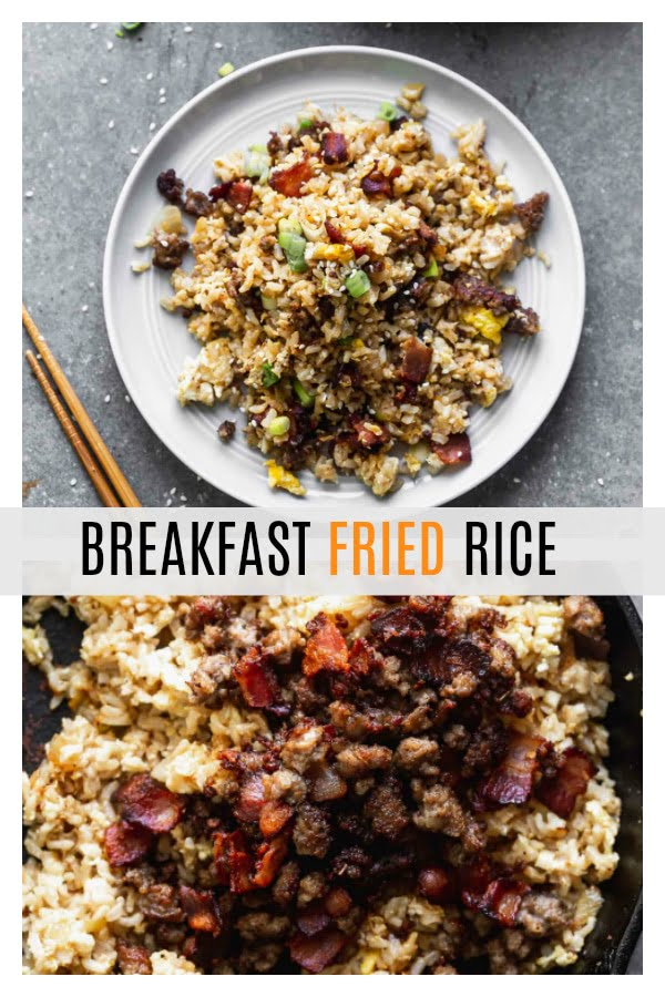 This Breakfast Fried Rice Recipe is packed with salty bacon and sausage, a light soy sauce, oniob, garlic, and plenty of hearty scrambled eggs.