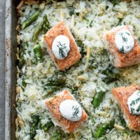 Sheet Pan Salmon and Rice with Lemon Dill Sauce