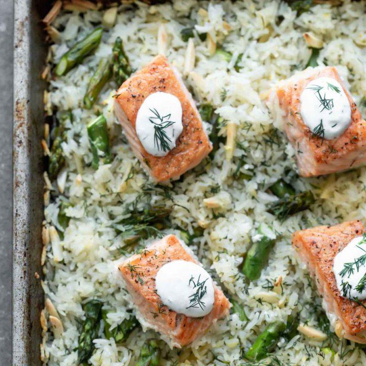 Sheet Pan Salmon and Rice with Lemon Dill Sauce