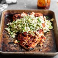 Baked BBQ Salmon with Brussels Sprout Slaw