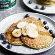 Coconut Banana Protein Pancakes