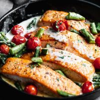 Creamy Spring Lemon Seared Salmon
