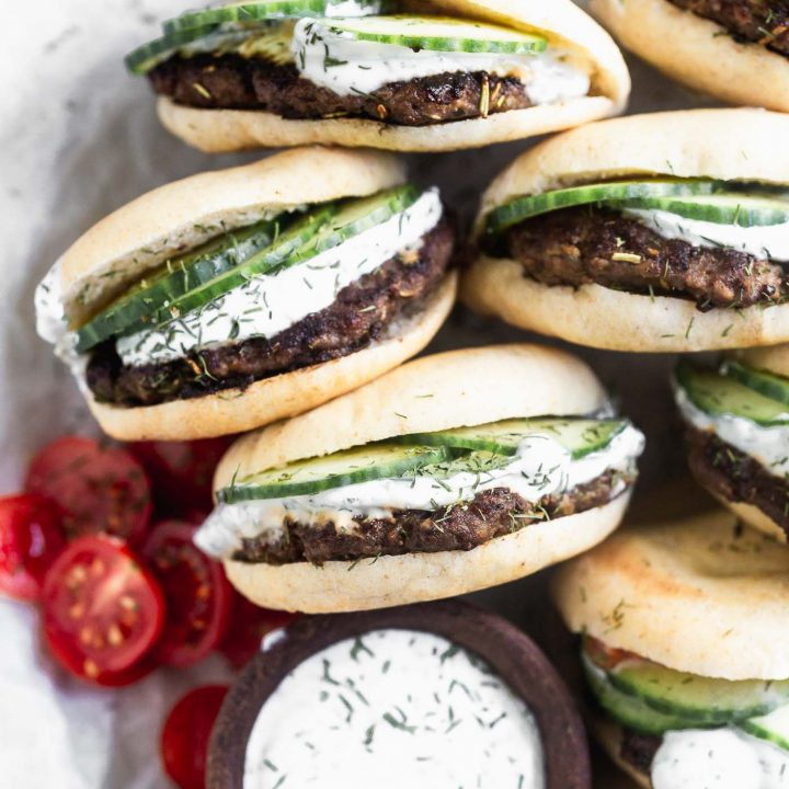 Mini Lamb Burgers with Dill Greek Yogurt