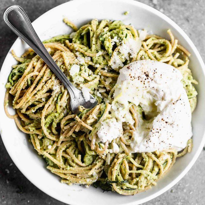 Whole Wheat and Zucchini Spaghetti with Broccoli Pesto and Burrata