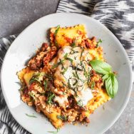 Baked Ravioli with Italian Sausage and Ricotta