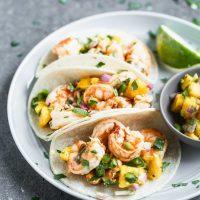 Easy Chipotle Shrimp Tacos with Mango Salsa