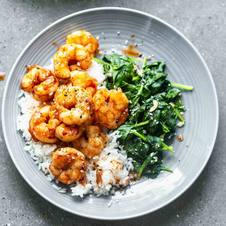 Easy Maple Soy Shrimp with Garlicky Spinach