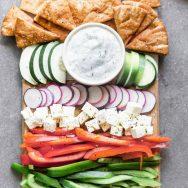 Greek Crudités with Tzatziki and Pita Chips