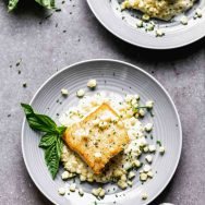 Pan-Roasted Hailbut with Creamed Corn
