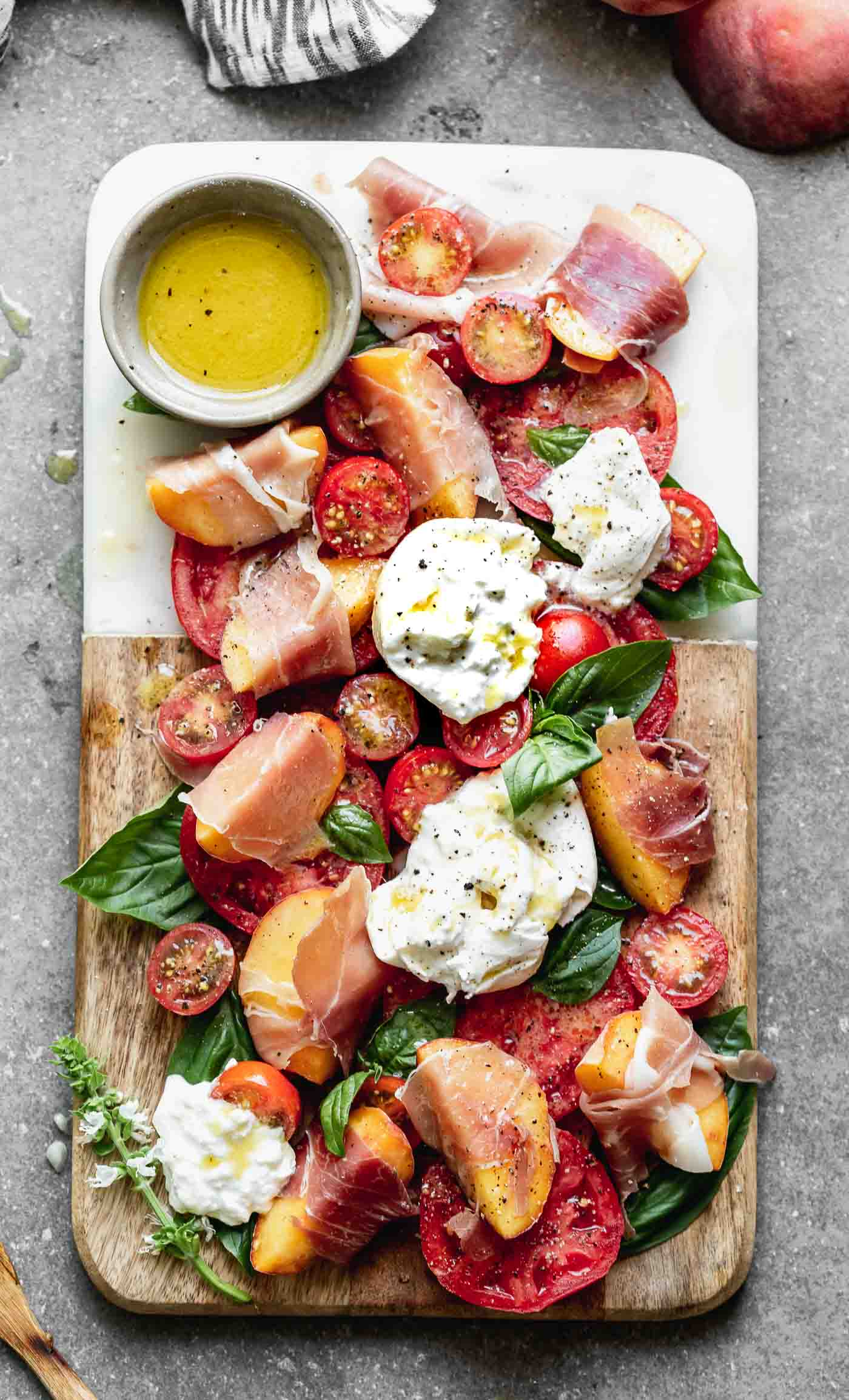 Peach and Tomato Caprese Salad with Burrata