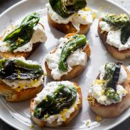 5-Ingredient Shishito Pepper and Burrata Crostini