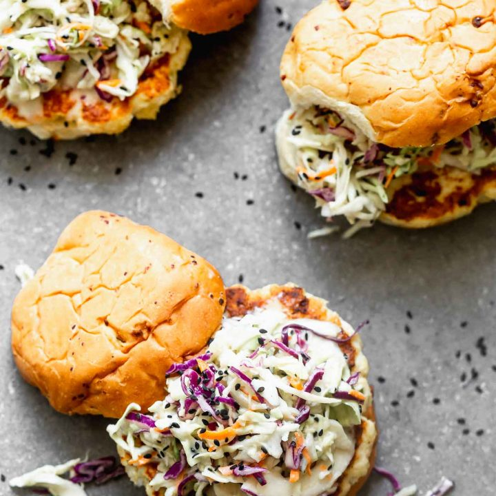 Spicy Chicken Burgers with Wasabi Coleslaw
