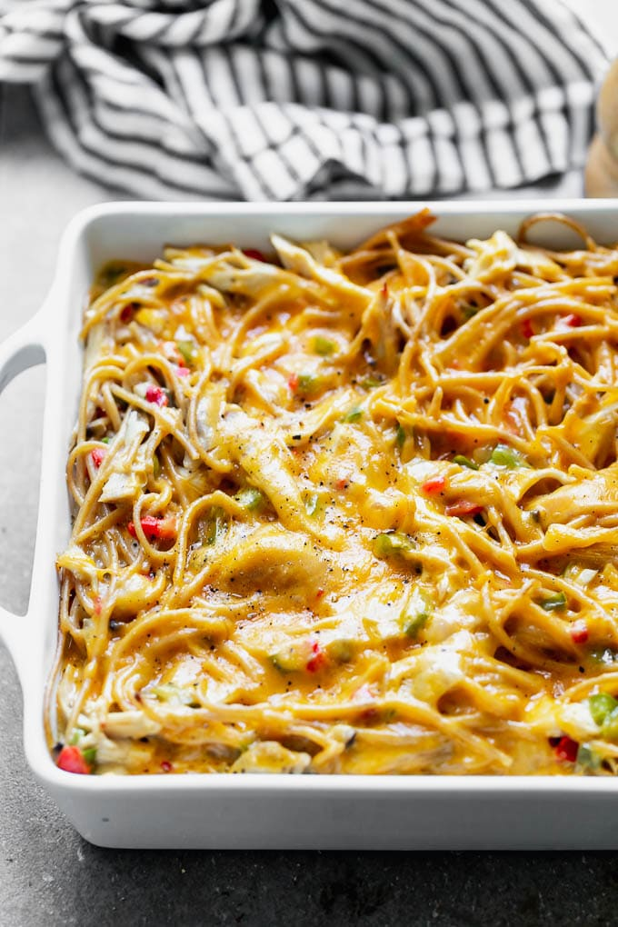 Close up of healthy chicken spaghetti
