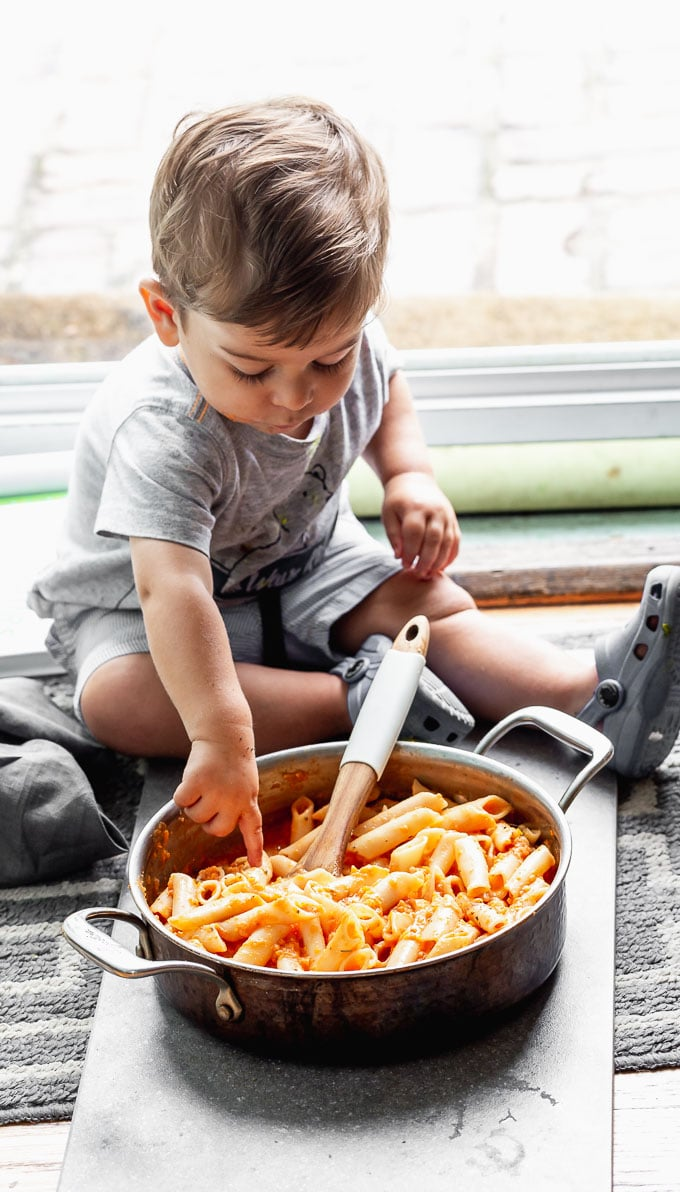 Baby with pasta