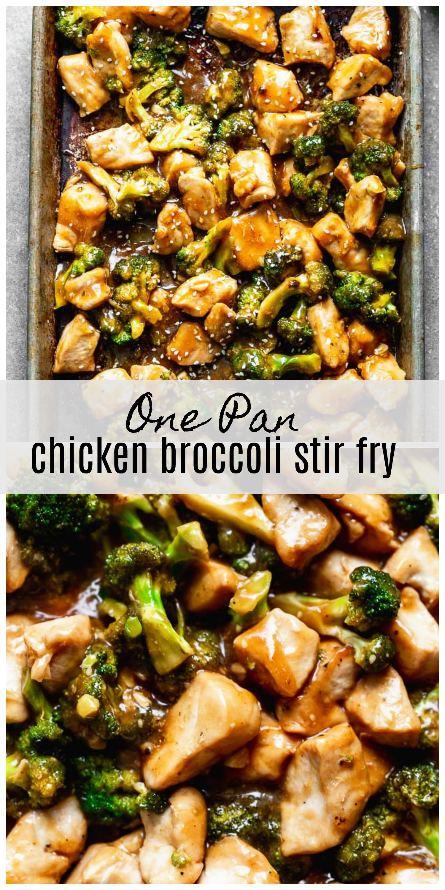 Chinese Chicken Broccoli Stir Fry is a healthier version of a classic, and it's all made in the oven! Tender chicken and crisp broccoli is tossed in a sweet soy glaze and served with simple white rice. Quick, easy, and virtually mess free!