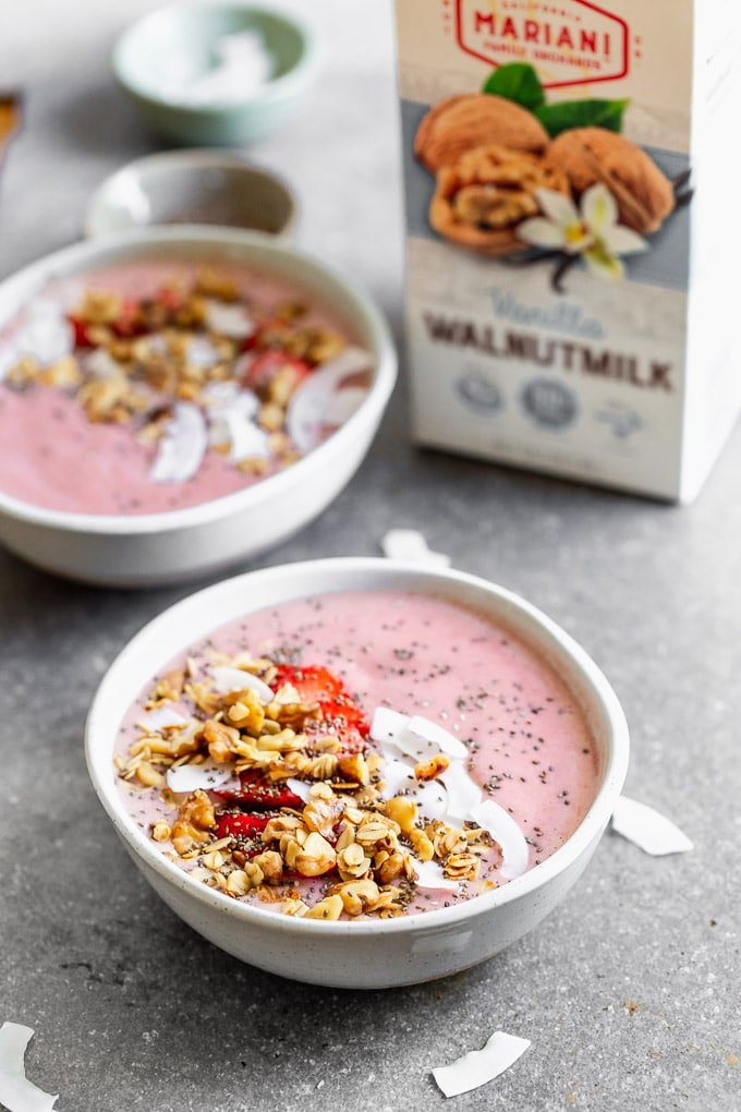 Strawberry Smoothie Bowls with Walnut Crumble
