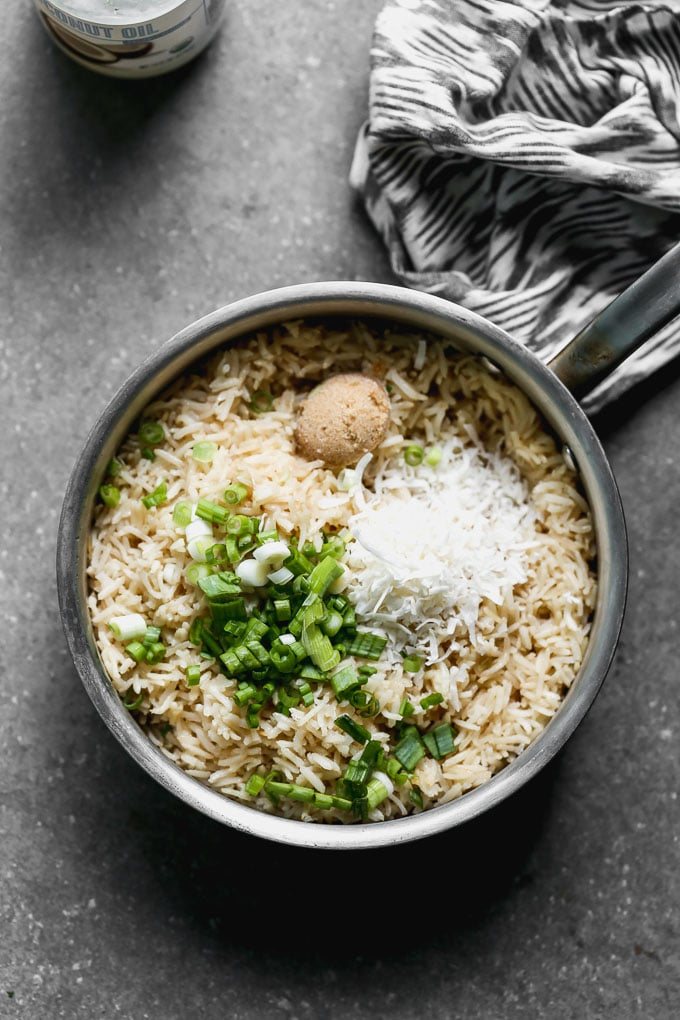 jasmine rice with coconut, brown sugar, and green onions